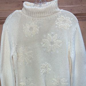 Talbots Hand Knitted Beaded Sweater PS